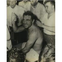 1952 Press Photo A shirtless athlete waves - sas17679