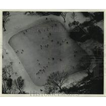 1961 Press Photo Aerial view of skaters on the Klode Park outdoor ice rink