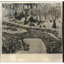 1963 Press Photo Scene from top of ski jump, Suicide Hill, Ishpeming, Michigan