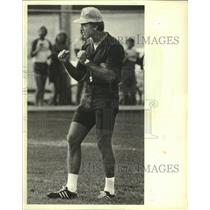 1981 Press Photo Packers football coach Bart Starr encourages his team