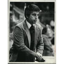 Press Photo Red Wings hockey Bill Purcell watches game - tus04240