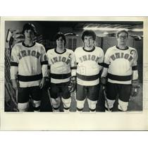 Press Photo Union College hockey players in locker room in Schenectady, New York