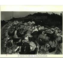 1987 Press Photo Trash and debris piles on Virtue Street in Chalmette, Louisiana