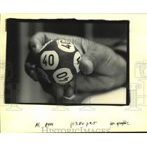 1992 Press Photo One Of The 44 Lotto Balls Used In The Louisiana Lottery