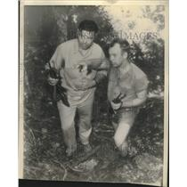 1945 Press Photo Commander Jack Dempsey & Schwarz Inspect Coast Guard Base
