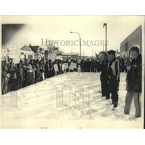1975 Press Photo Police guard as Menominees demonstrate in Shawano, Wisconsin