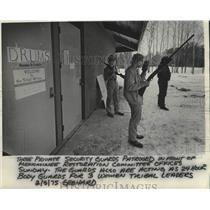 1975 Press Photo Three men guard Menominee Restoration Committee in Wisconsin