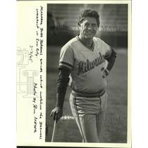 1982 Press Photo Manager Buck Rodgers watches Brewers workout in Sun City.
