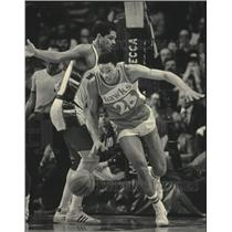 1984 Press Photo Atlanta's Glenn Rivers in basketball action at the Arena