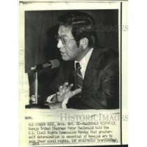 1973 Press Photo Navajo chairman MacDonald testifies at US Civil Rights hearing