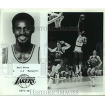 1977 Press Photo Los Angeles Lakers Basketball Player Earl Tatum Rebounds