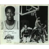 1977 Press Photo Los Angeles Lakers Basketball Player Kermit Washington Shoots