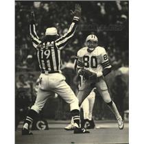1982 Press Photo Green Bay Packers football's James Lofton scores touchdown