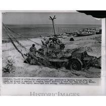 1956 Press Photo Egyptian Anti Aircraft Gun Uncovered