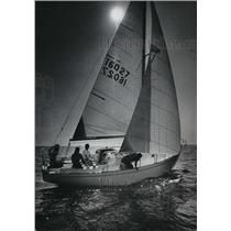Silhouetted(boat) against the Lake Michigan sky1974 Press Photo - mja67223