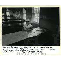 1980 Press Photo Ybrian Duarte del Toro sitting at Dining Facility at Fort McCoy