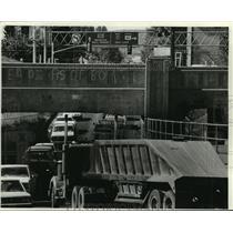 1981 Press Photo Traffic Bottleneck, Evanston, Wyoming - mjb54916