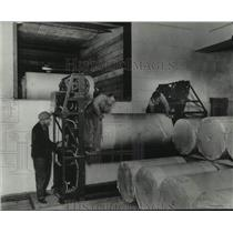 1926 Press Photo Milwaukee Journal Workers moved rolls of paper, loading dock WI