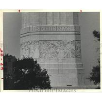 1981 Press Photo Carvings recall Texas settlement on this San Jacinto Monument