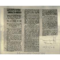 1924 Press Photo Lafayette paper coming America Cutting - RRX20143