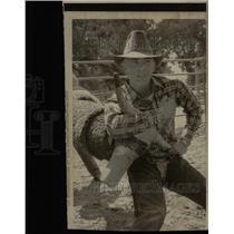 1975 Press Photo Steve Ford Learns Bulldogging - RRX64391