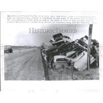 1966 Press Photo Junk Cars Piled Up at Junk Yard