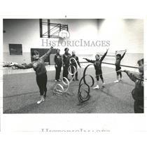 1985 Press Photo Illinois Rhythmics Class Gymnastics