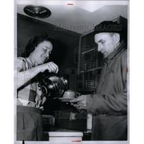 1956 Press Photo The Glass Widow Mrs. Vann pours coffee - RRX60417