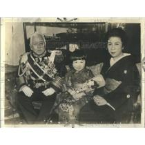 1933 Press Photo Admiral Viscount Makoto Saito, Prime Minister of Japan & Family
