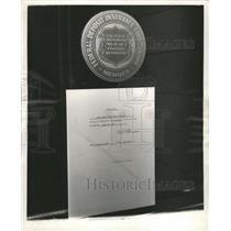 1953 Press Photo Closeup Notice posted bank door Irving - RRW40199