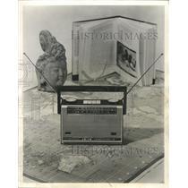 1960 Press Photo Japanese Transistor Radio & World Map - RRW51783
