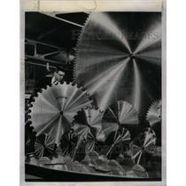 1953 Press Photo Huge Saw Blades On Exhibit - RRX61017