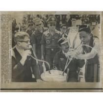1966 Press Photo Montagnard Freeman Wine Jug Vietnam
