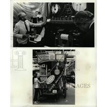 Press Photo Drum Set Stage Woman Adjusts Cart Signs