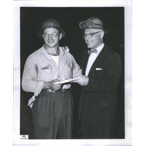 1957 Press Photo Robert Maciejczak/United States Steel/Cash Award/Steel Cutting