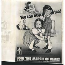 1952 Press Photo Girls March of Dimes Poster - RRW38647