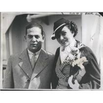 1935 Press Photo Mr and Mrs Fred Mandel On Cruise To San Francisco - RSC99825
