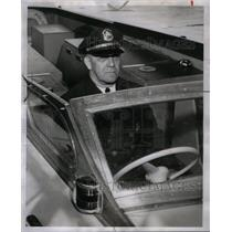 1953 Press Photo Lt. Syver Gulli Detroit Harbor Patrol - RRX59923