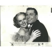 1937 Press Photo Alice Faye Tony Martin You Can't Have Everything Actors