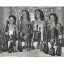 1947 Press Photo Town Club Swimmers With Trophy Collection LaVine Clases