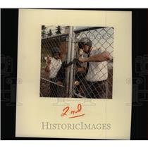 1984 Press Photo Security Guards Lock the Gates