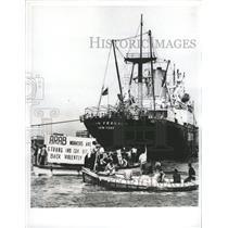 Press Photo Port Said Egypt Sailors Protest U.S. Ship - RRX88167