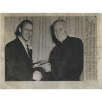 1957 Press Photo St Louis Cardinal Musial Receives Medal Xavier University