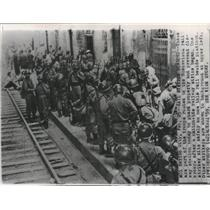 1959 Press Photo Rail Station Troops Buenavista Strike