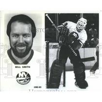 1985 Press Photo Bill Smith,New York Islanders hockey player - RSC54105
