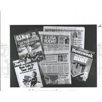 1990 Press Photo magazines newspapers create Headlines