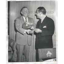 1956 Press Photo Hughston McBain Ernst Scherz Exchange Tams at Switzerland
