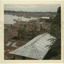 Press Photo Nature Thatched Huts on Amazon Riverbank Iquitos Peru