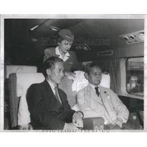 1950 Press Photo Japanese Statesman Ozaki With Son Riding Airplane - RSC76517