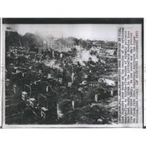 1953 Press Photo Firefighters pour water on fatality fire at Littlefield Nursing